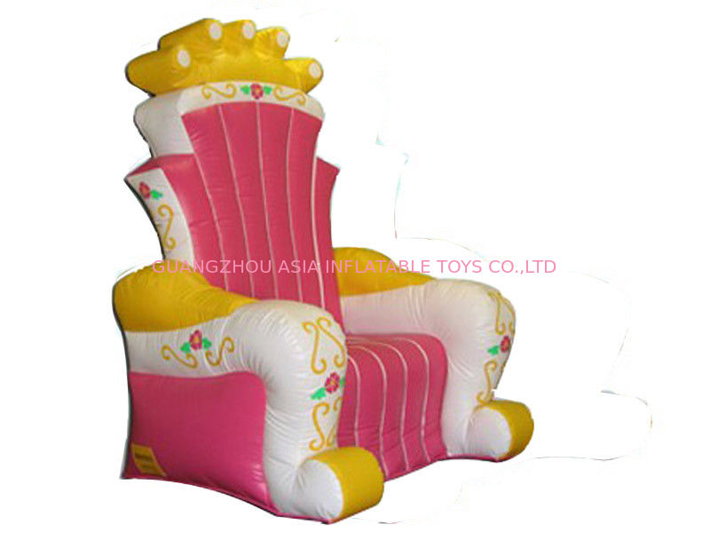 Hot Melding Pink 0.9mm Pvc Tarpaulin Inflatable  King Chair Sofa For Advertising Tedarikçi