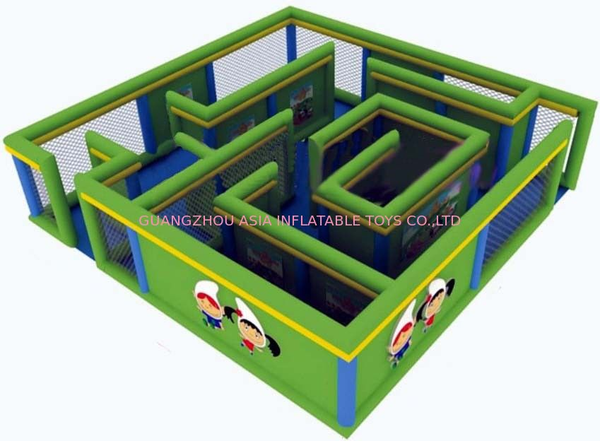 Durable Green Maze Game For Chilren, Inflatable Chilren Park Games Tedarikçi